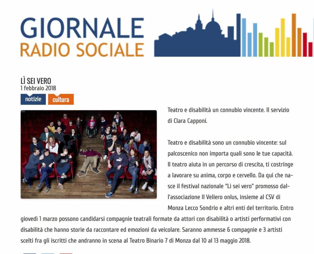 1 febbraio 2018 - Giornale Radio Sociale - Lì Sei Vero 2