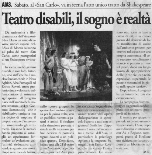 1999 11 novembre - Il Cittadino - Teatro disabili il sogno è realtà