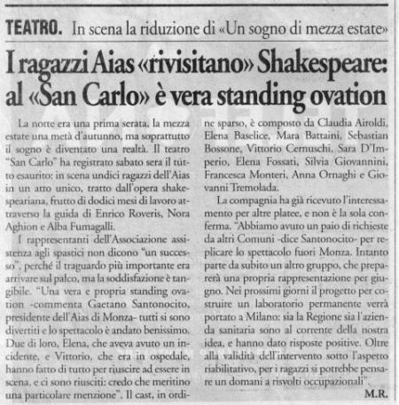 1999 18 novembre - Il Cittadino - I ragazzi Aias rivisitano Shakes...San Carlo è standing ovation