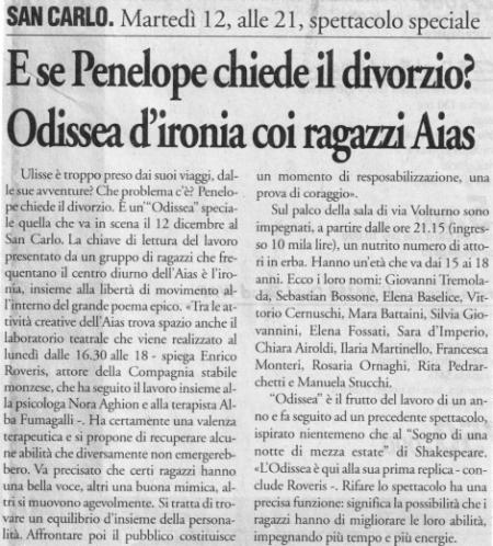 2000 12 - 7 dicembre - Il Cittadino - E se Penelope chiede il divorzio... Odissea d'ironia coi ragazzi Aias