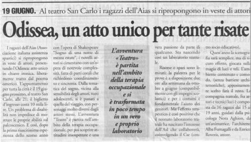 2000 15 Giugno - Il Cittadino - Odissea, un atto unico per tante risate