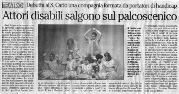 2003 11 - 4 novembre - Il Giornale di Monza - Attori disabili salgono sul palcoscenico