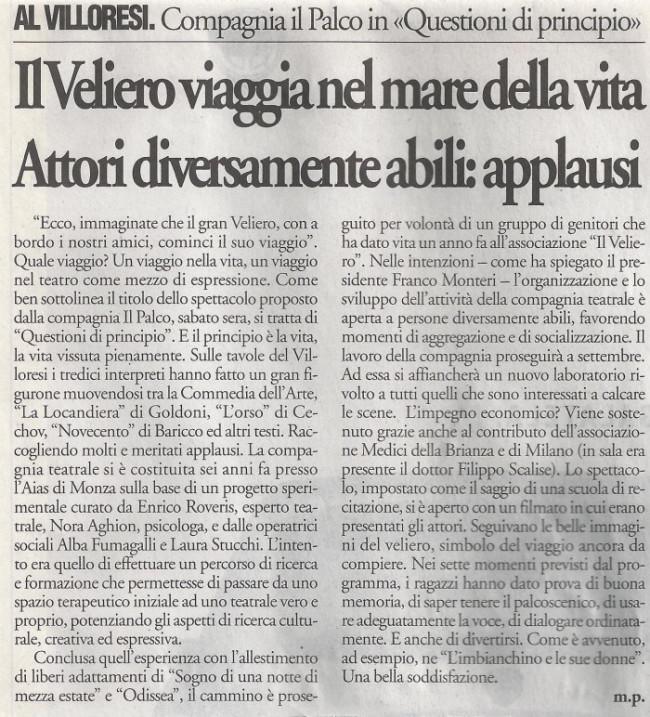2004 06 - 24 giugno - Il Cittadino - Il Veliero viaggia nel mare della vita. Attori diversamente abili, applausi