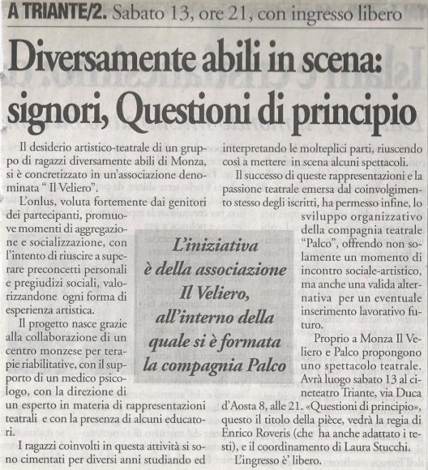 2004 11 - 11 novembre - Il Cittadino - Diversamente abili in scena, signori, Questioni di principio