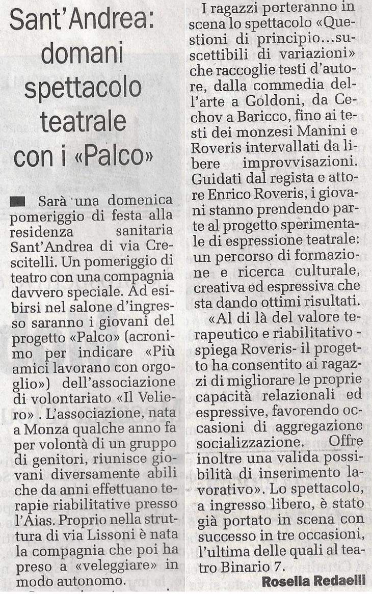 2007 02 - 10 febbraio - Il Cittadino - Sant'Andrea, domani spettacolo teatrale con i >