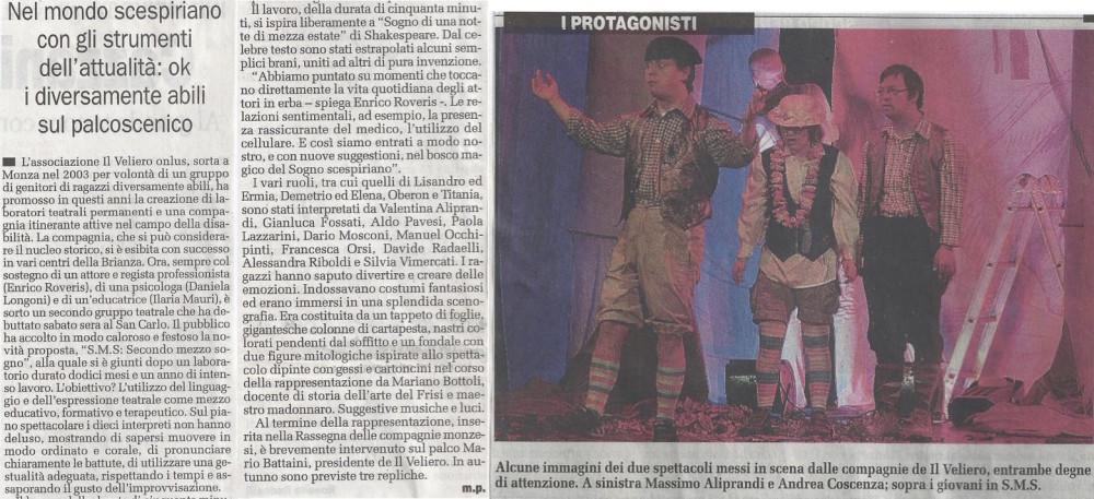 2008 05 - 08 maggio - Il Cittadino - Nel mondo scespiriano con gli strumenti dell'attualità, ok i diversamente abili sul palcoscenico