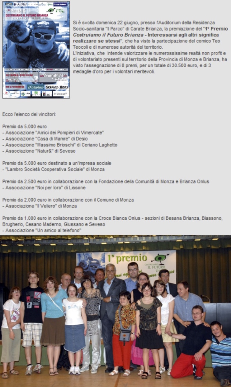 2008 06 - 22 Giugno - Web - 1° Premio Costruiamo il futuro Brianza
