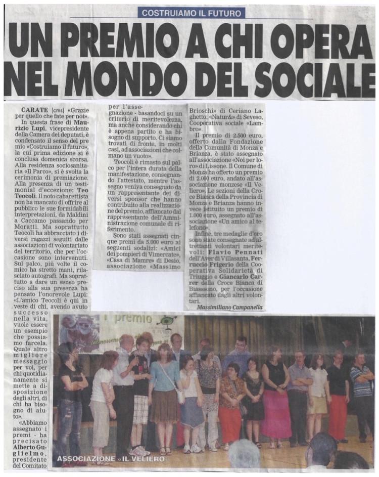 2008 06 - 24 giugno - Giornale di Monza - Un premio a chi opera nel mondo del sociale