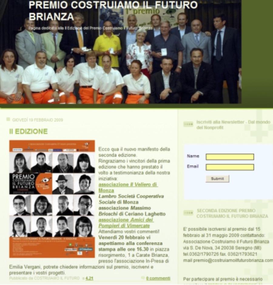 2009 02 - 19 febbraio - Web http-::premiocif.blogspot.it - Premio costruiamo il futuro Brianza