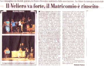2009 05 - 30 maggio - il Cittadino - Il Veliero va forte, il Matricomio è riuscito