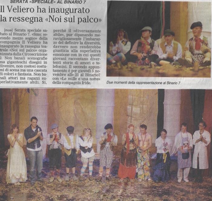2009 10 - 13 ottobre - Giornale di Monza - Il Veliero ha inaugurato la rassegna >
