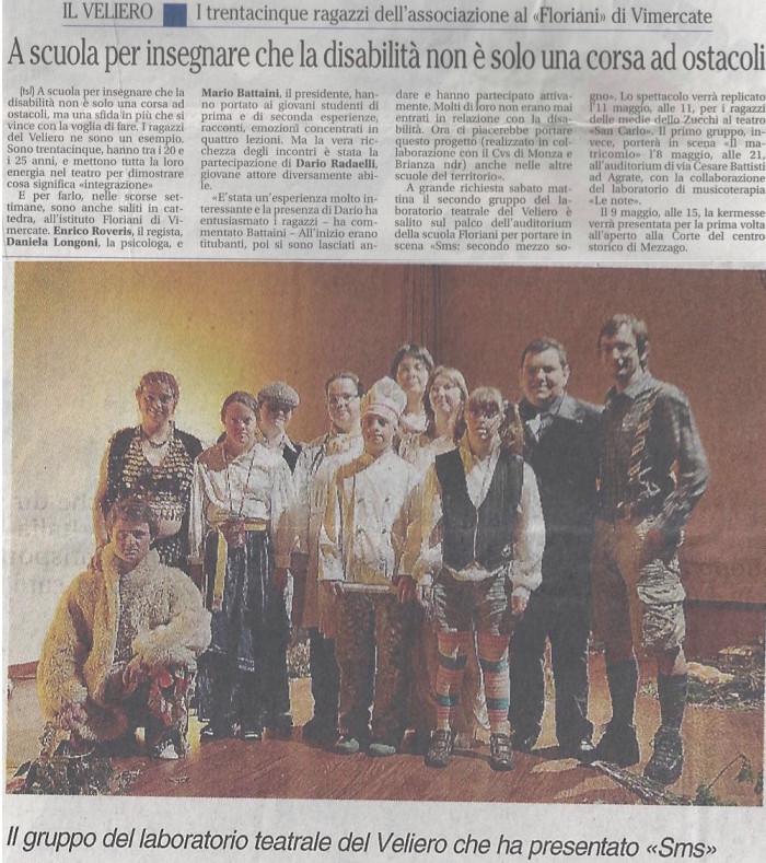 2010 04 - 27 aprile - Giornale di Monza - A scuola per insegnare che la disabilità non è soltanto una corsa ad ostacoli