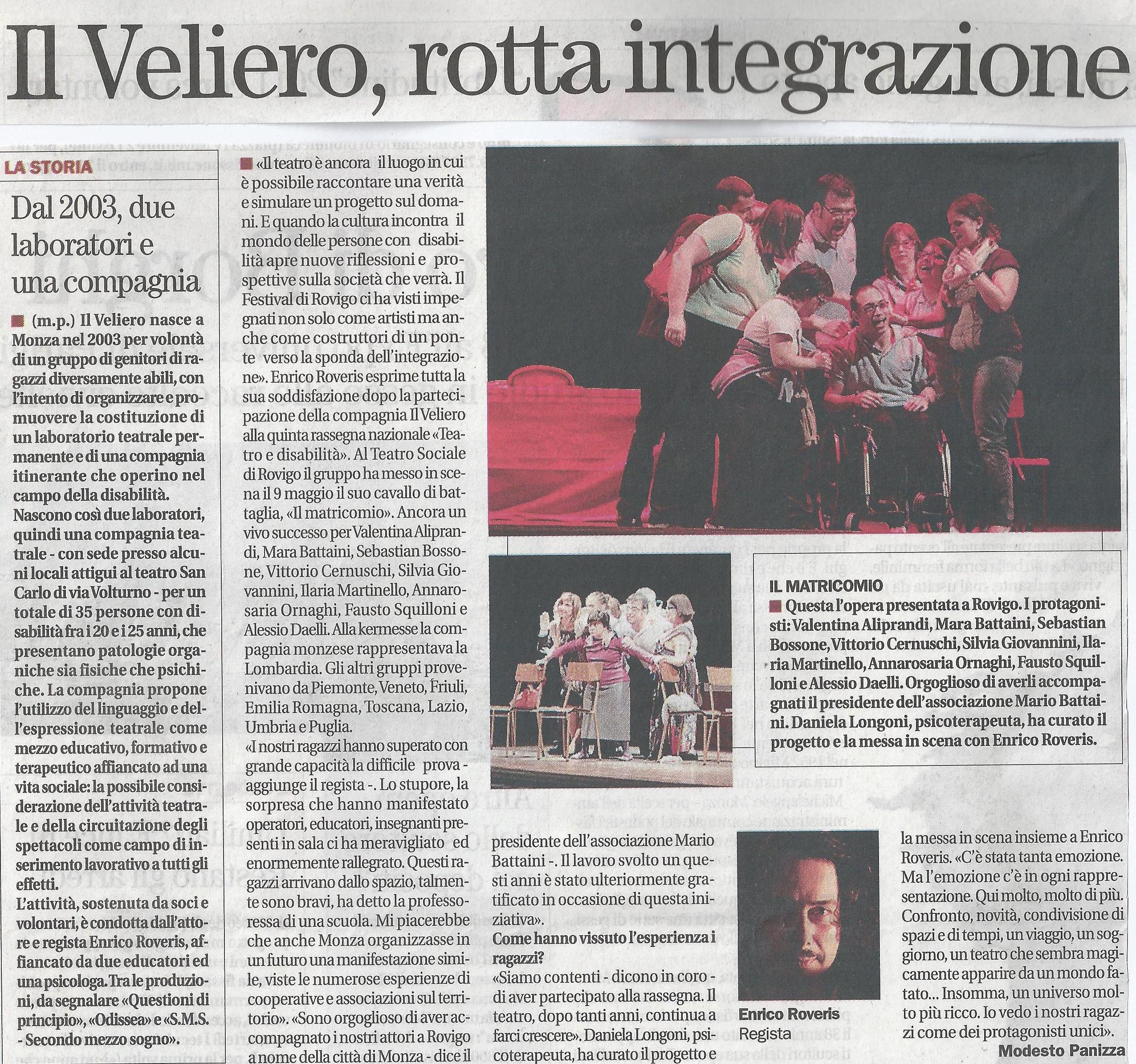 2011 05 - 12 maggio - Il Cittadino - Il Veliero, rotta integrazione