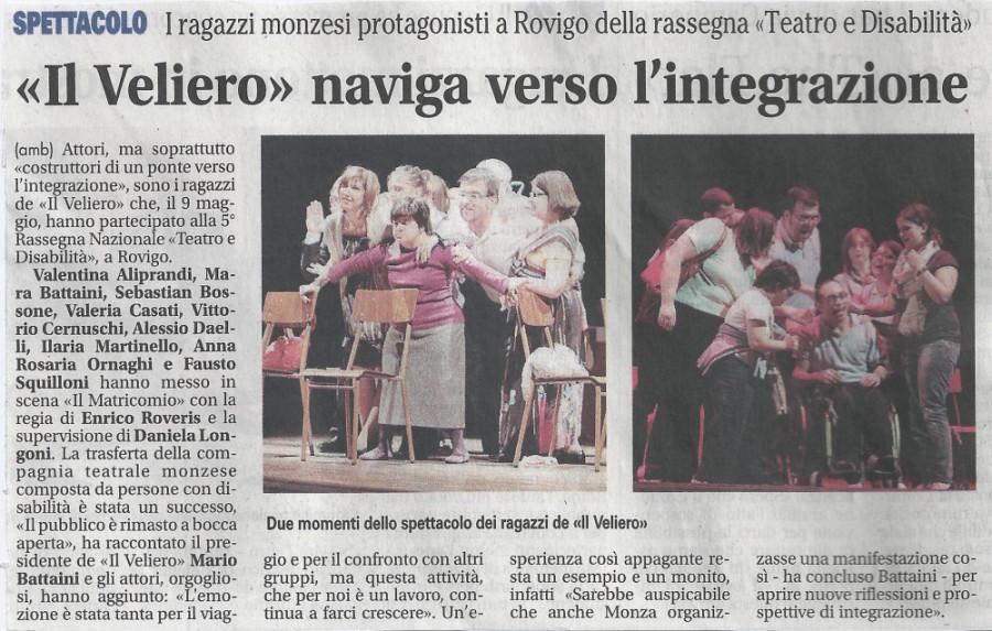 2011 05 - 24 maggio - Il Giornale di Monza - %22Il Veliero%22 naviga verso l'integrazione