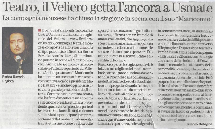 2012 07 - 05 luglio - Il Cittadino - Teatro,il Veliero getta l'ancora a Usmate