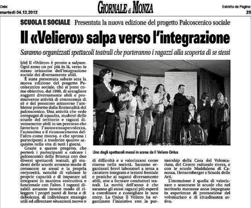 2012 12 - 04 dicembre - Giornale di Monza - Il %22Veliero%22 salpa verso l'integrazione