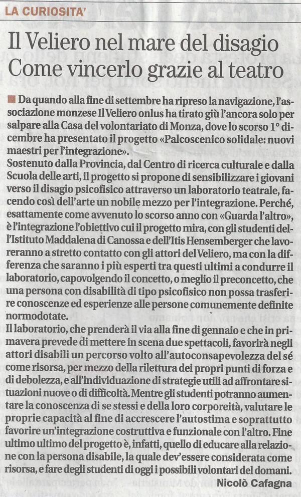 2012 12 - 13 dicembre - Il Cittadino - Il Veliero nel mare del disagio. Come vincerlo grazie al teatro
