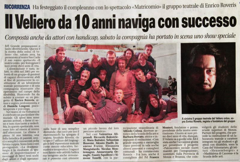 2013 01 - 15 gennaio - Giornale di Monza - Il Veliero da 10 anni naviga con successo