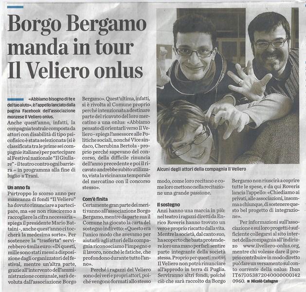 2013 07 - 02 luglio - il Cittadino - Borgo Bergamo manda in tour il veliero onlus