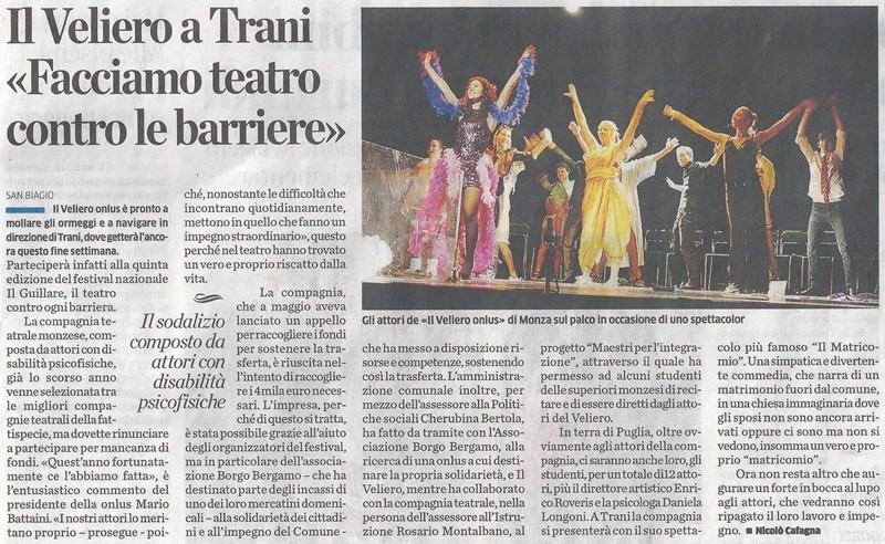 2013 07 - 25 luglio - il Cittadino - Il Veliero a Trani, facciamo teatro contro le barriere