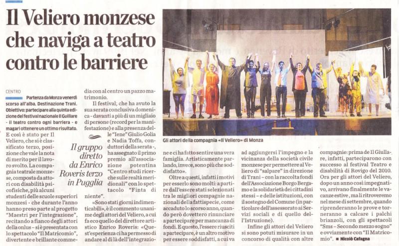 2013 08 - 01 agosto - Giornale di Monza - Il Veliero monzese che naviga contro le barriere