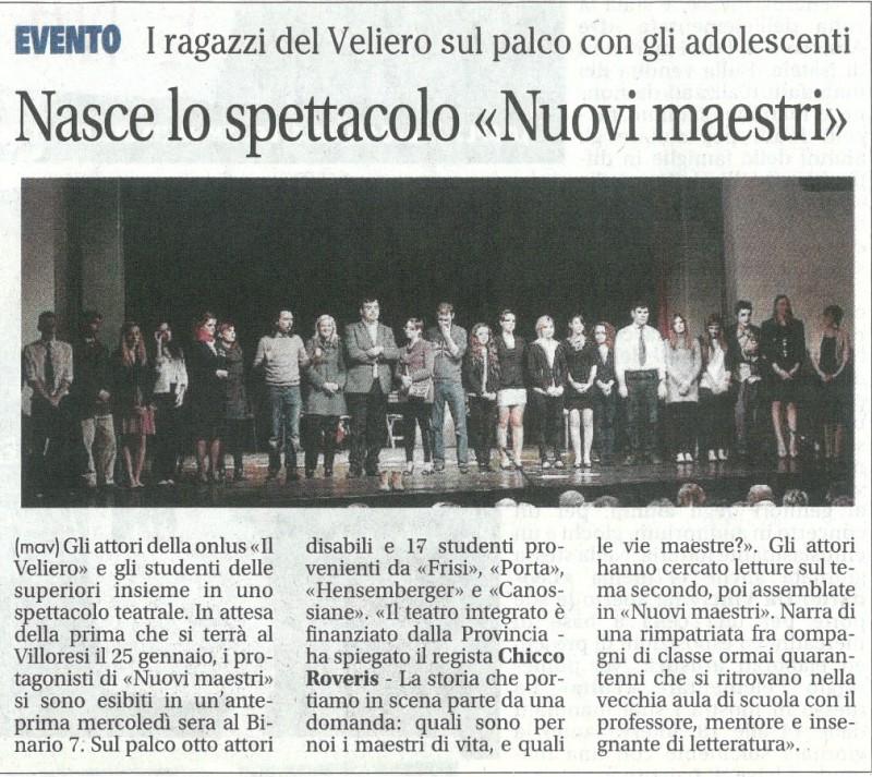 2013 12 - 17 dicembre - Giornale di Monza - Nasce lo spettacolo >