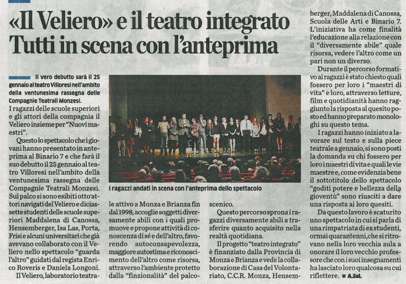 2014 01 - 02 gennaio - il Cittadino - > e il teatro integrato. Tutti in scena con l'anteprima