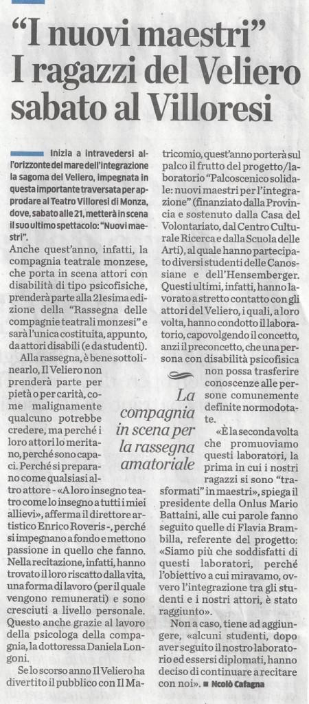 2014 01 - 23 gennaio - il Cittadino - %22I nuovi maestri%22 I ragazzi del Veliero sabato al Villoresi