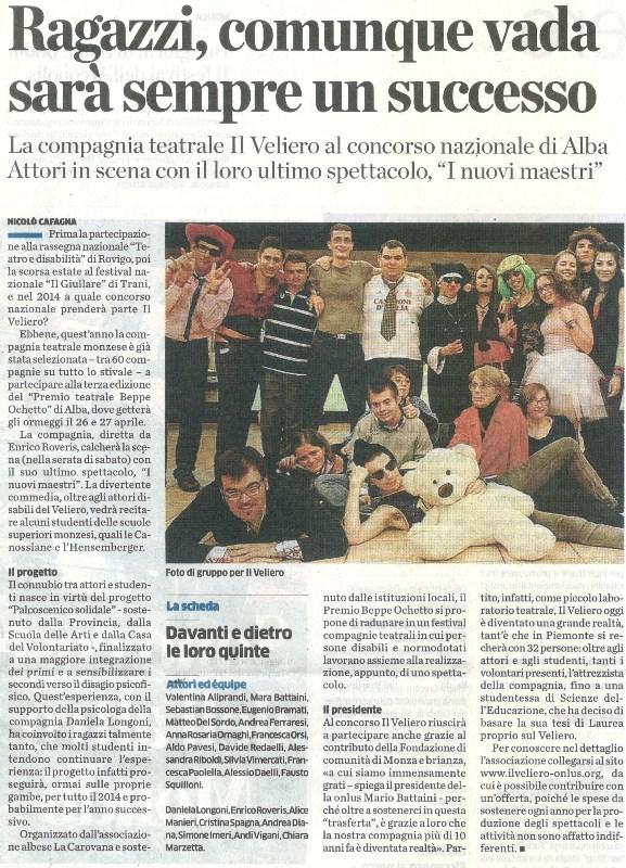 2014 04 - 17 aprile - il Cittadino - Ragazzi, comunque vada sara' un successo
