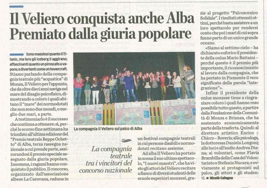 2014 05 - 01 maggio - il Cittadino - Il Veliero conquista anche Alba Premiato dalla giuria popolare