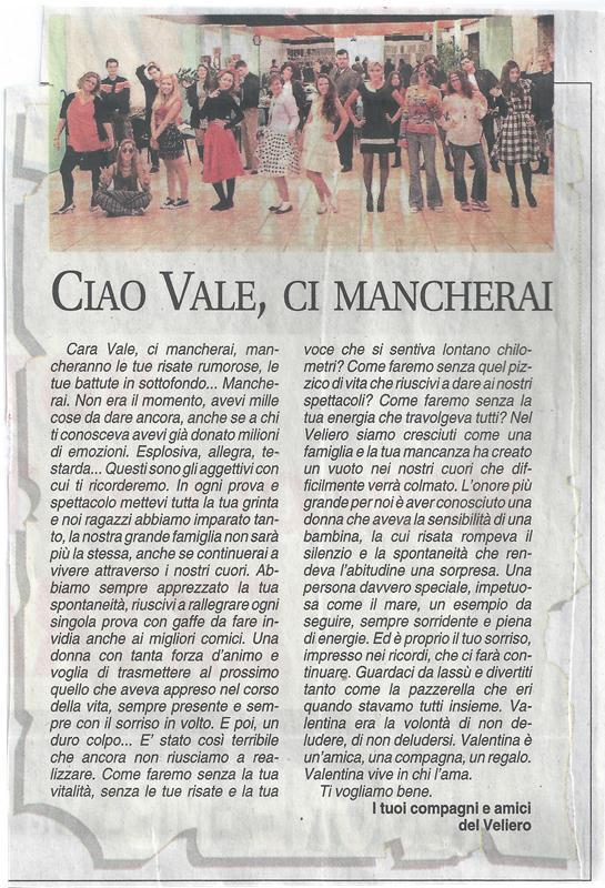 2014 07 - 22 luglio - Giornale di Monza - Ciao Vale, ci mancherai