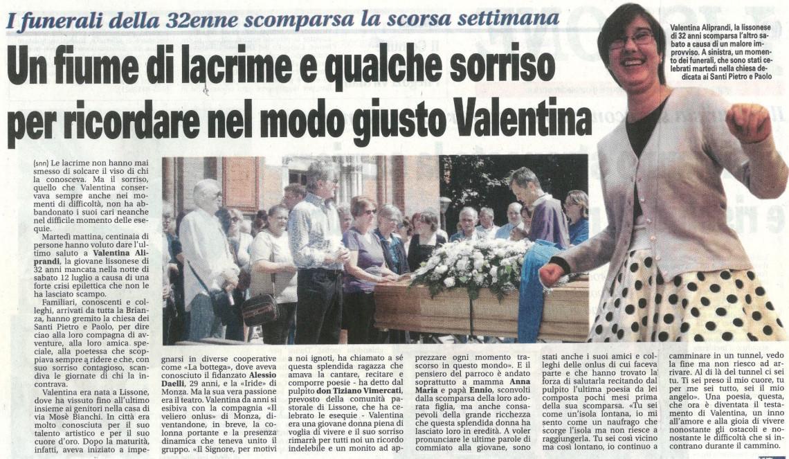 2014 07 - 22 luglio - Giornale di Monza - Un fiume di lacrime e qualche sorriso per ricordare nel modo giusto Valentina