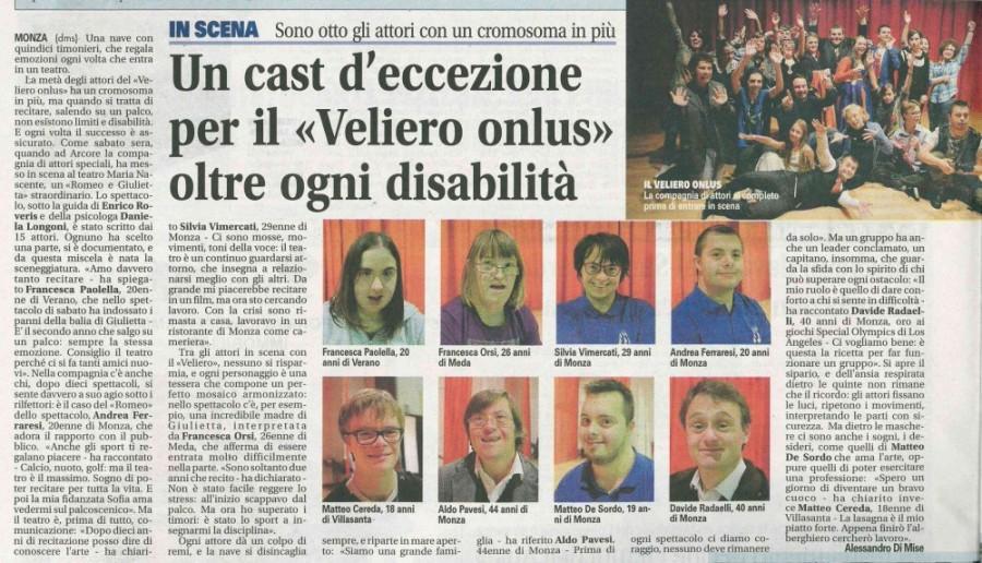 2015 10 - 13 ottobre - Giornale di Monza - Un cast d'eccezione per il > oltre ogni disabilità