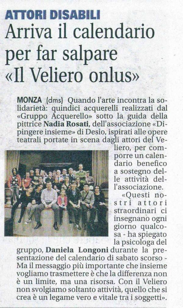 2015 11 - 24 novembre - Giornale di Monza - Arriva il calendario per far salpare >