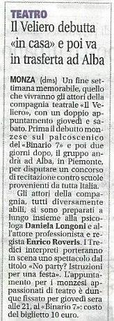 2016 04 - 12 aprile - Giornale di Monza - Il Veliero debutta > e poi va in trasferta ad Alba