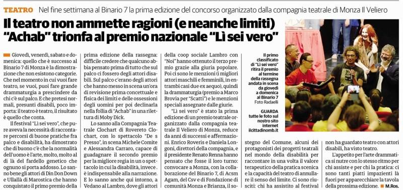 2017 05 - 25 Maggio - il Cittadino - Il Teatro non ammette ragioni (e neanche limiti) Achab trionfa al premio nazionale Lì Sei Vero