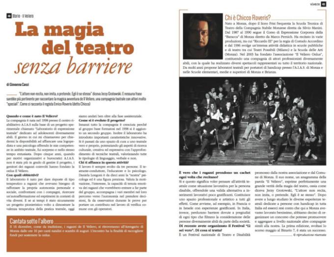 2017 12 - dicembre - mensile Vivere - La magia del teatro senza barriere.