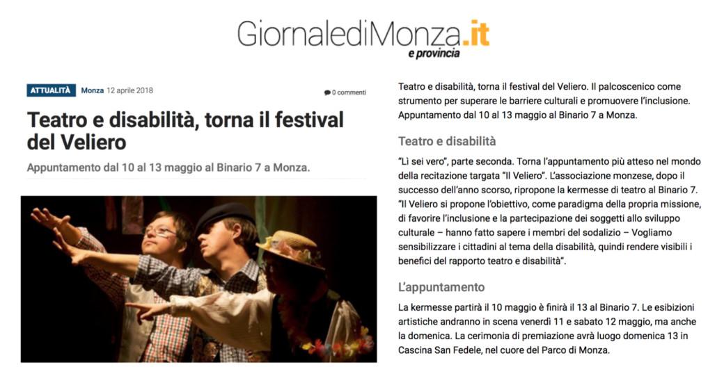 2018 04 - 12 aprile - Giornale di Monza e della Brianza. it - Teatro e disabilità, torna il festival del Veliero