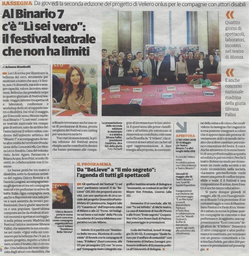 2018 05 - 05 Maggio - Cittadino Monza e Brianza - Al Binario 7 c è Lì Sei Vero - il festival teatrale che non ha limiti