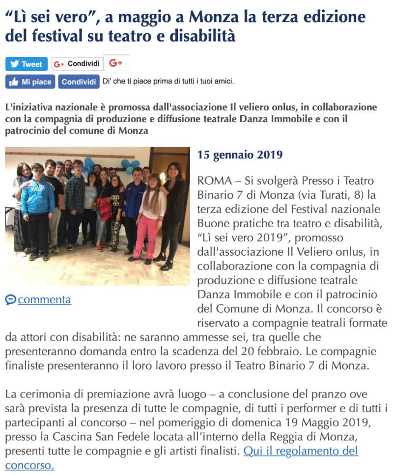 """2019 01 - 15 gennaio - SuperAbili online- """"Lì sei vero"""", a maggio a Monza la terza edizione del festival su teatro e disabilità"""