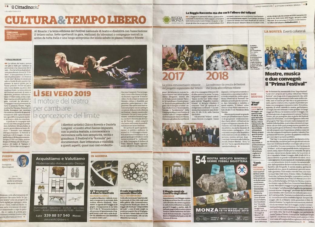 2019 05 - 09 Maggio 2019 - Il Cittadino -Lì Sei Vero 2019 Il motore del teatro per cambiare la concezione del limite