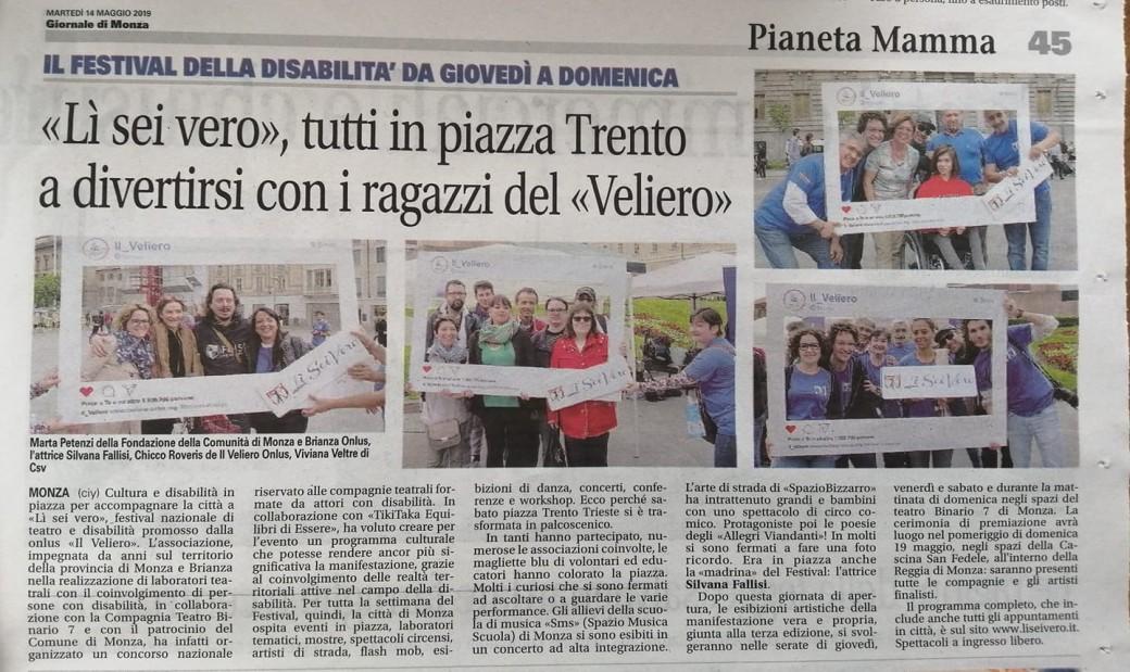 2019 05 - 14 Maggio - Giornale di Monza - Lì Sei Vero tutti in piazza Trento a divertirsi con i ragazzi del Veliero