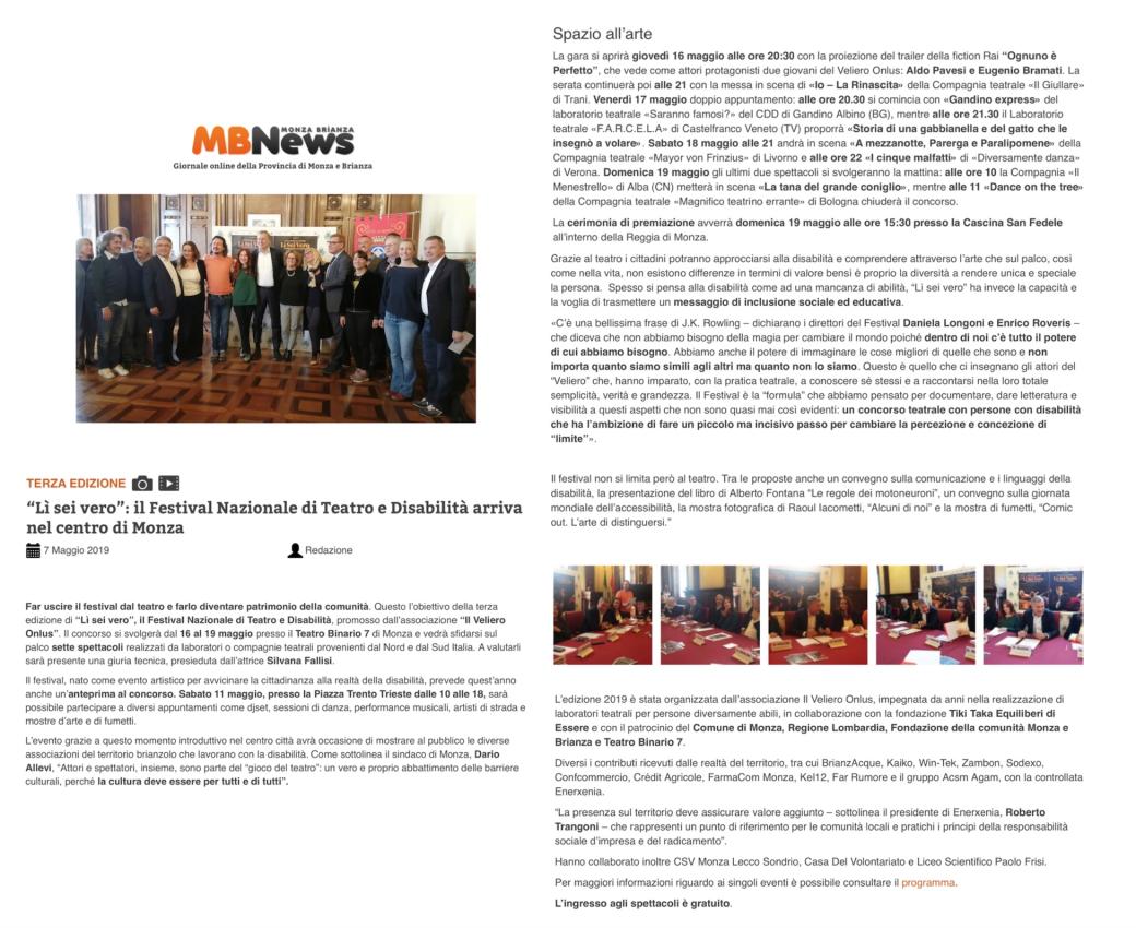 2019 05 - 7 Maggio 2019 - MBNews online - Lì sei vero il Festival Nazionale di Teatro e Disbilità arriva nel centro di Monza